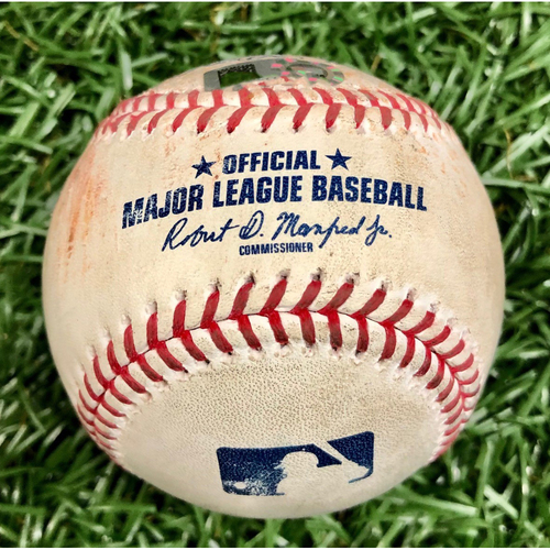 Photo of Game Used Baseball: Aaron Hicks Single off Ryan Thompson - First 7-Inning DH at Tropicana Field - Game 1 August 8, 2020 v NYY