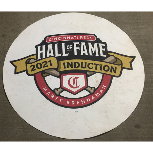 Photo of 2021 Cincinnati Reds Hall of Fame Legends Game White On Deck Circle - Team Bench