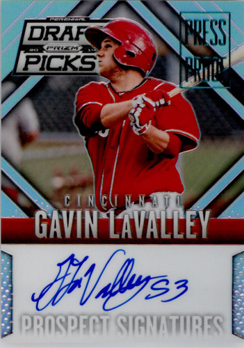 Photo of 2014 Panini Prizm Perennial Draft Picks Prospect Signatures Prizms Press Proof #89 Gavin LaValley