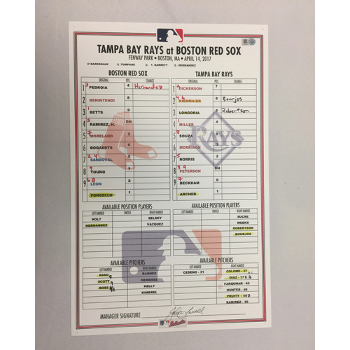 April 14, 2017 Rays at Red Sox Game-Used Lineup Card - Rays Win 10 to 5