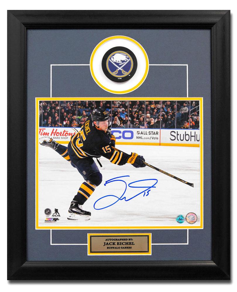 Jack Eichel Buffalo Sabres Autographed NHL Hockey 23x19 Puck Frame