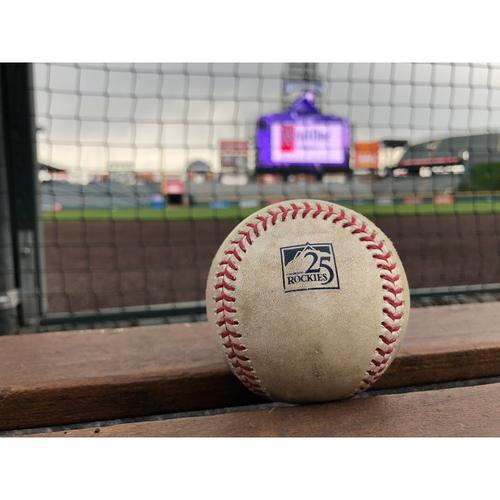 Photo of Colorado Rockies Game-Used Baseball - Gray v Pujols - Single - Career Hit 3,003 - May 8, 2018