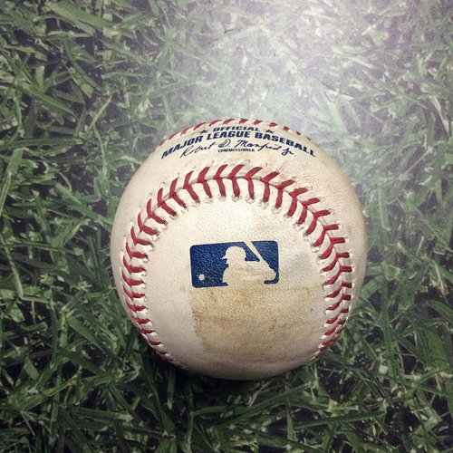 Photo of Game-Used Baseball KC@MIL  06/26/18 - Freddy Peralta - Whit Merrifield: Strikeout Looking (Peralta Home Debut Game)