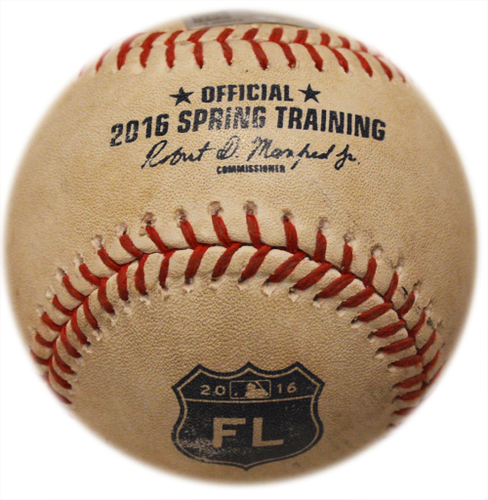 Photo of Game Used Baseball - 2016 Spring Training Game - Mets vs. Nationals - 3/30/16