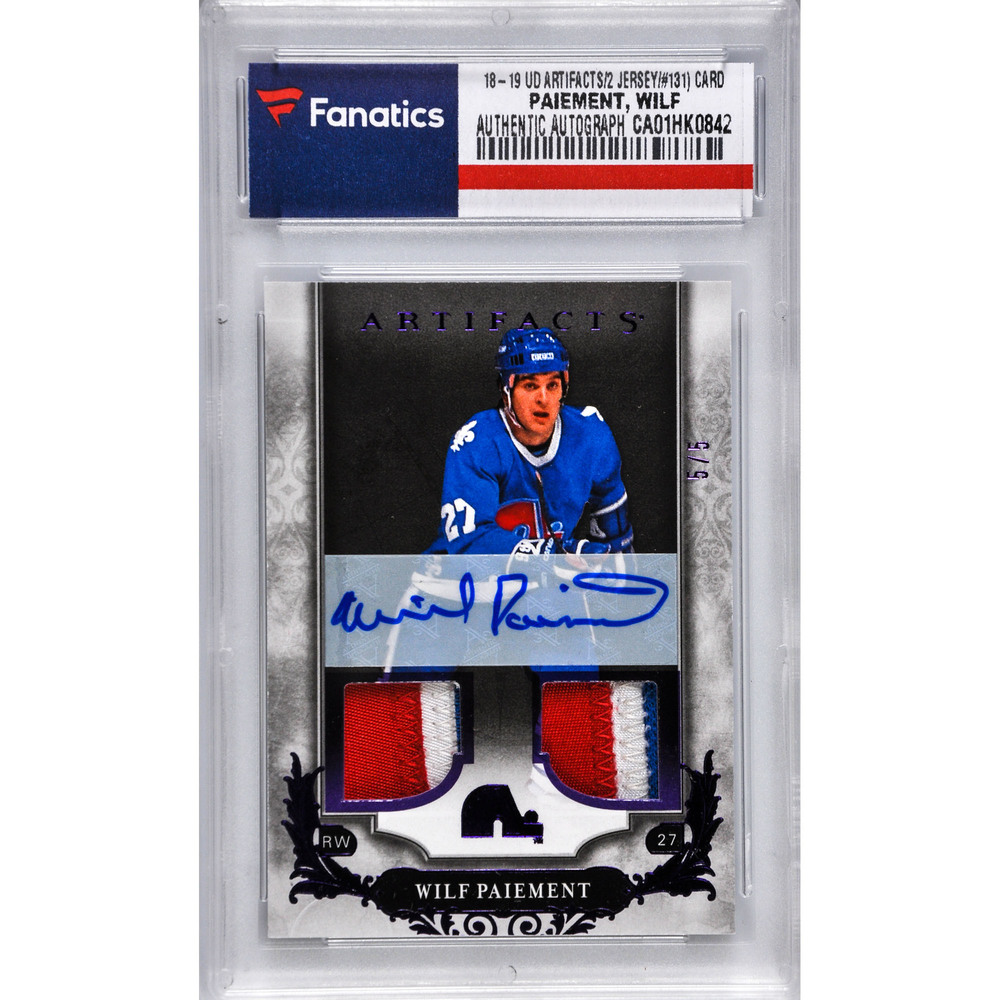 Wilf Paiement Quebec Nordiques Autographed 2018-19 Upper Deck Artifacts Purple Parallel #131 Dual-Jersey Patch Card - #5 of a Limited Edition of 5