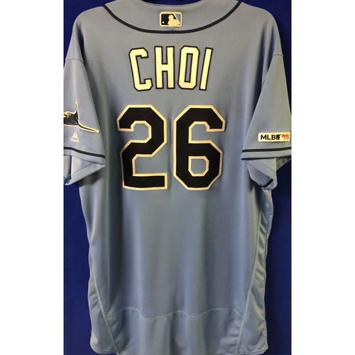 Photo of Game Used Jersey and Baseball: Ji-Man Choi - WALK-OFF RBI single off Joe Jimenez - August 18, 2019 v DET