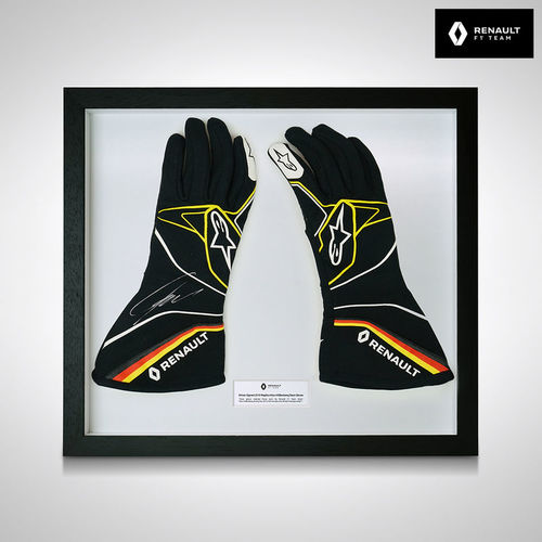 Photo of Nico Hulkenberg 2019 Framed Signed Replica Race Gloves- Renault F1 Team