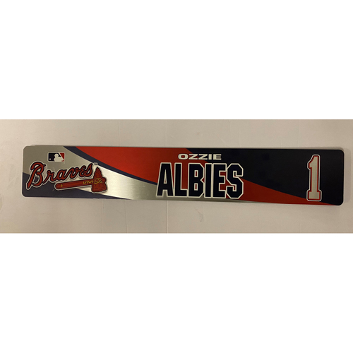 Photo of Ozzie Albies Game Used 2018 Locker Nameplate