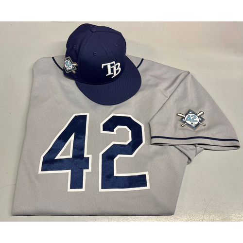 Photo of Game Used Jackie Robinson Day Jersey (3 Games) and Cap (3 Games): Michael Perez #7 - August 28-30, 2020 at MIA
