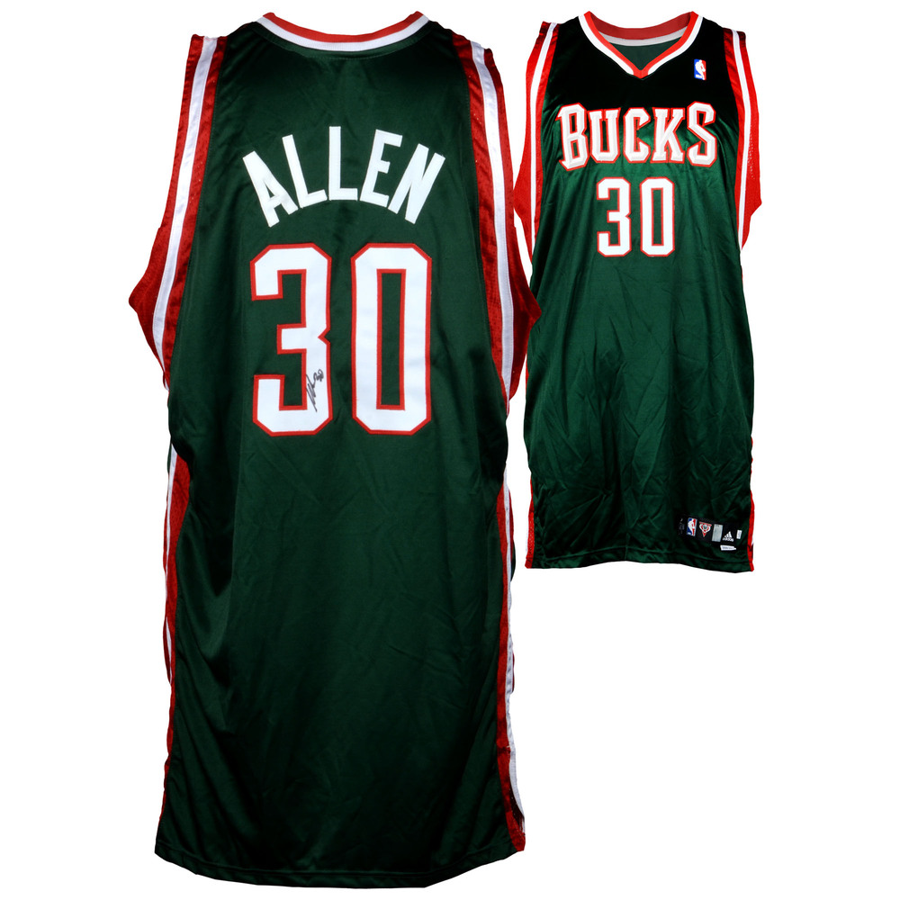 Malik Allen Milwaukee Bucks Autographed Game-Used Red #30 Jersey used during the 2008-2009 Season - Size 52
