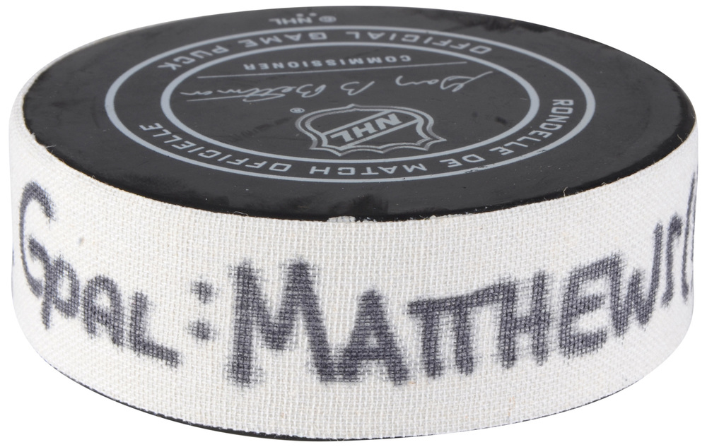 Auston Matthews Toronto Maple Leafs Atlantic Division 2018 NHL All-Star Game Goal Puck vs. Metropolitan Division