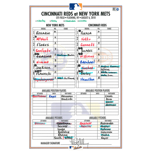 Photo of Game Used Lineup Card - Syndergaard Start, Earns 7th Win; McNeil Hits 2nd Career HR; Mets Win 6-4 - Mets vs. Reds - 8/6/18