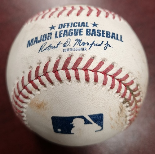 Photo of Authenticated Game Used Baseball - Foul Ball by Lourdes Gurriel Jr. against Ryan Pressly. July 25, 2018 vs Minnesota Twins. Bottom 7.