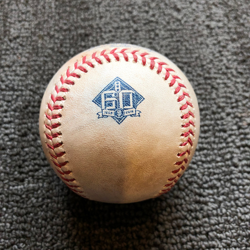 Photo of 2018 San Francisco Giants - Game-Used Ball - 60th Anniversary - Reyes Moronta Strikes Out Francisco Pena Swinging on 7/8/18