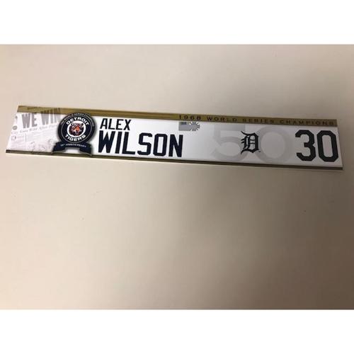 Photo of Game-Used 1968 World Series Champions 50th Anniversary Locker Name Plate: Alex Wilson