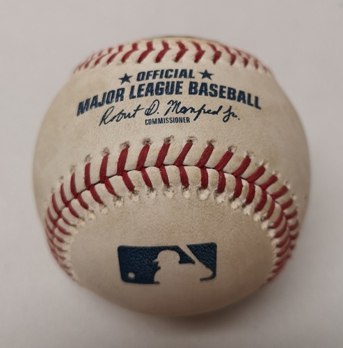 Photo of Authenticated Game Used Baseball - Matt Duffy Single against Mark Leiter (September 21, 2018 vs TB). Top 6.