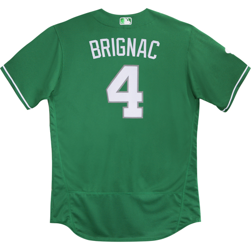 Photo of 2016  Spring Training -  St. Patrick's Day Worn Jersey - Reid Brignac (Braves) - Size 48