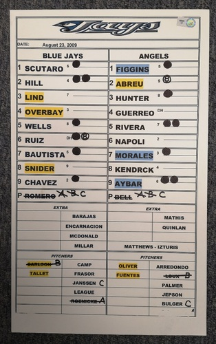 Photo of Authenticated Game Used Lineup Card - August 23, 2009 vs LAA: Vladimir Guerrero had 3 hits