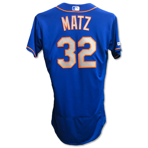 Photo of Steven Matz #32 - Team Issued Blue Alt. Road Jersey - 2019 Season