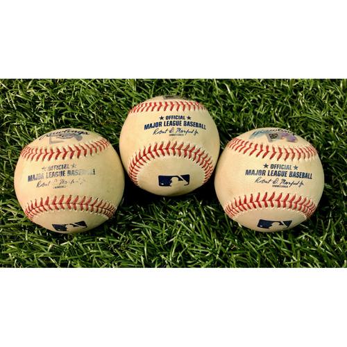 Photo of Game Used Baseball Package: Yandy Diaz, Brandon Lowe and Yoshitomo Tsutsugo - August 4, 2020 v BOS