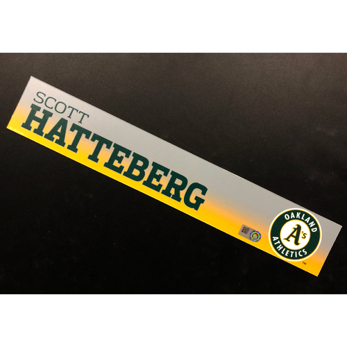 Photo of Game-Used 2019 Spring Training Locker Nameplate - Scott Hatteberg