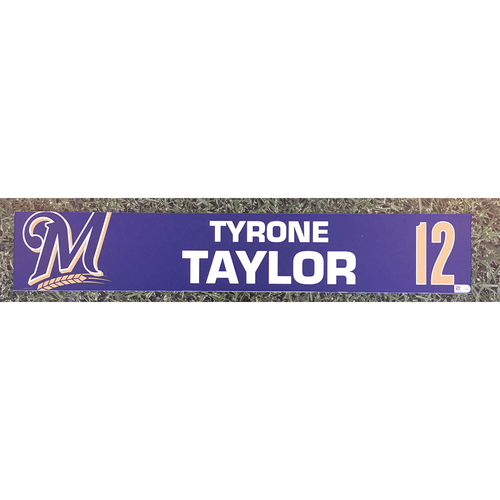 Photo of Tyrone Taylor 2019 Game-Used Locker Nameplate
