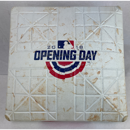 Photo of 2018 Opening Day Game-Used Base - 4/2/2018 - 3rd Base for Innings 5-6