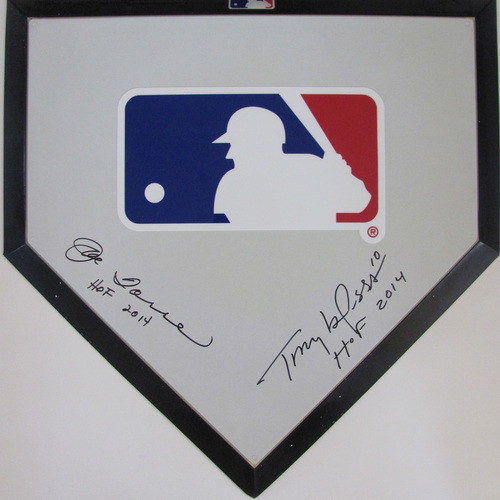 UMPS CARE AUCTION: MLB Commemorative Home Plate Signed by Joe Torre and Tony LaRussa (HOF 2014)