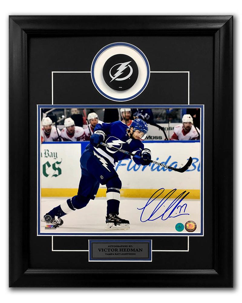 Victor Hedman Tampa Bay Lightning Autographed Slapshot 23x19 Puck Frame