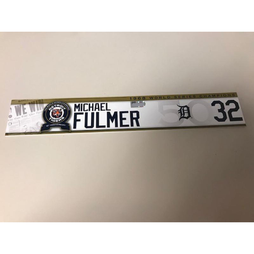 Photo of Game-Used 1968 World Series Champions 50th Anniversary Locker Name Plate: Michael Fulmer