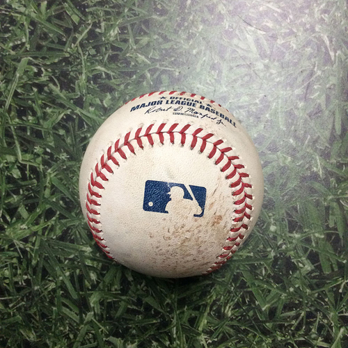 Photo of Game-Used Baseball LAD@MIL 07/21/18 - Chase Anderson - Yasmani Grandal: Ball 4, Walk
