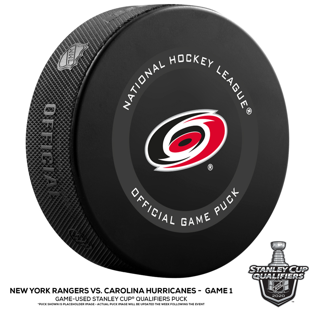 Carolina Hurricanes vs. New York Rangers Game-Used Puck from Game 1 of the 2020 Qualifying Series on August 1, 2020