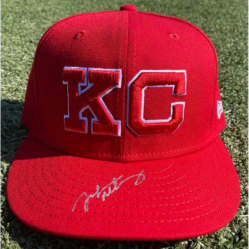Photo of Autographed/Game-Used Monarchs Hat: John Mabry #47 (STL @ KC 9/22/20) - Size 7 1/4