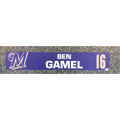 Photo of Ben Gamel 2019 Game-Used Locker Nameplate