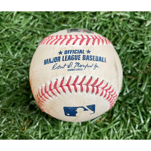 Photo of Game Used ALDS Baseball: Manuel Margot foul ball off Tanner Houck - Tanner Houck Rookie Season and First Career Postseason Win/Game - Bottom 4 - October 8, 2021 v BOS