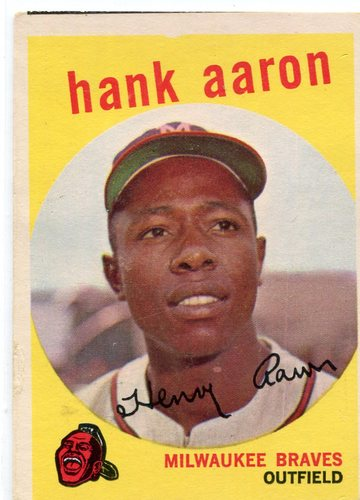 Photo of 1959 Topps #380 Hank Aaron -- Hall of Famer