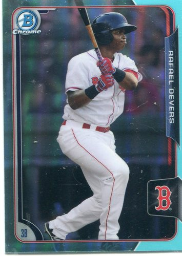 Photo of 2015 Bowman Chrome Draft Sky Blue Refractors #106 Rafael Devers