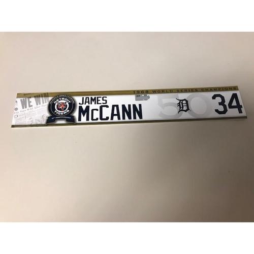 Photo of Game-Used 1968 World Series Champions 50th Anniversary Locker Name Plate: James McCann