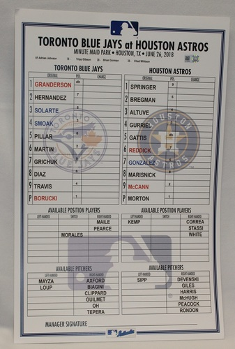 Photo of Authenticated Replica Lineup Card - June 26, 2018 vs Houston Astros: MLB Debut for Ryan Borucki