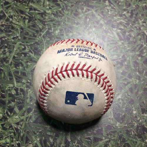 Photo of Game-Used Baseball COL@MIL 08/05/18 - Wade Miley - DJ LeMahieu: Single