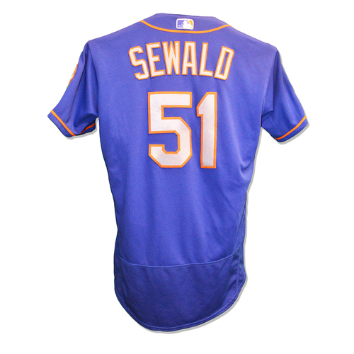Photo of Paul Sewald #51 - Game Used Blue Alt. Road Jersey - .2 IP, 1 K - Mets vs. Red Sox - 9/15/18