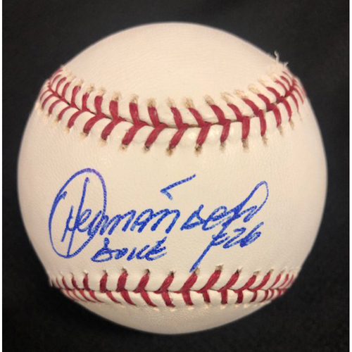 "Photo of Orlando ""El Duque"" Hernández Autographed 2005 World Series Baseball"