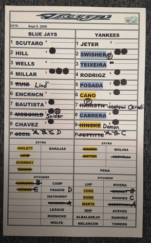 Photo of Authenticated Game Used Lineup Card - September 5, 2009 vs NYY: Andy Pettitte Win, 2 hit game by Derek Jeter