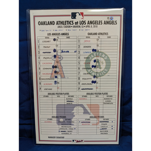 Photo of Game-Used Line Up Card from Shohei Ohtani's 2nd Career MLB Win 12 Strikeouts April 8th 2018