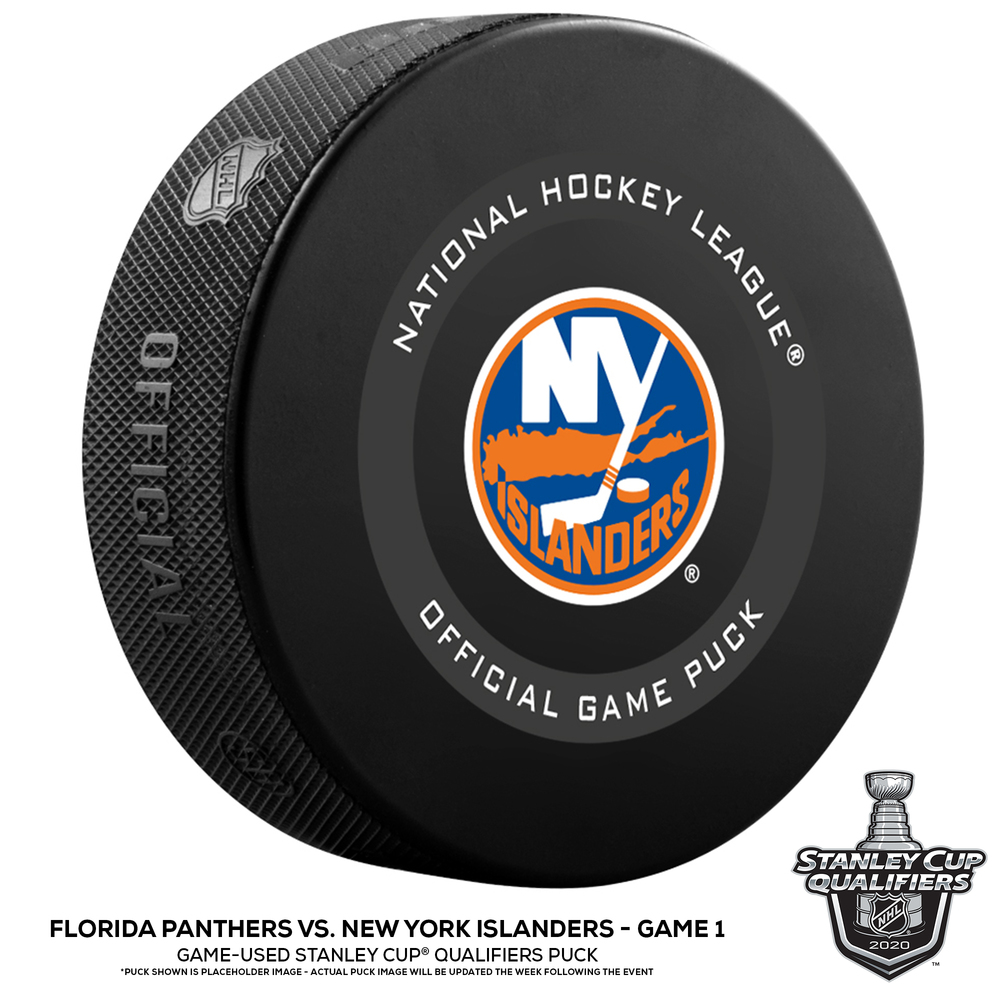 New York Islanders vs. Florida Panthers Game-Used Puck from Game 1 of the 2020 Qualifying Series on August 1, 2020
