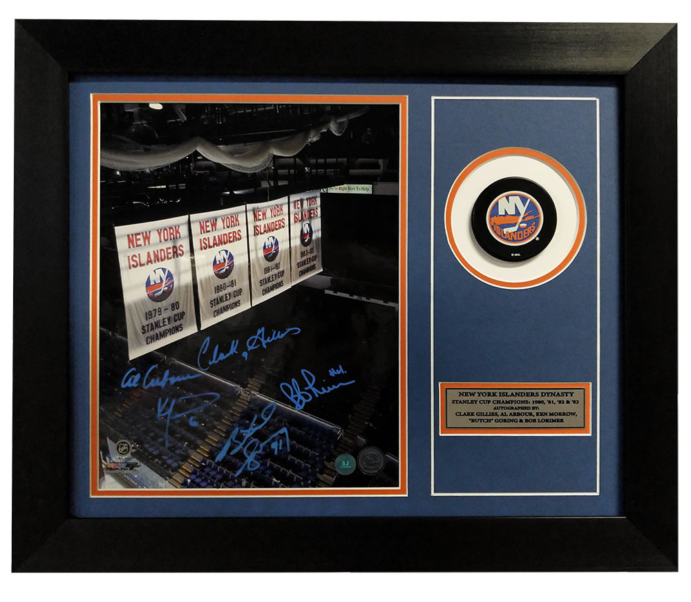 New York Islanders Stanley Cup Dynasty Banners 5 Player Signed 20x24 Puck Frame *Gillies, Arbour, etc*
