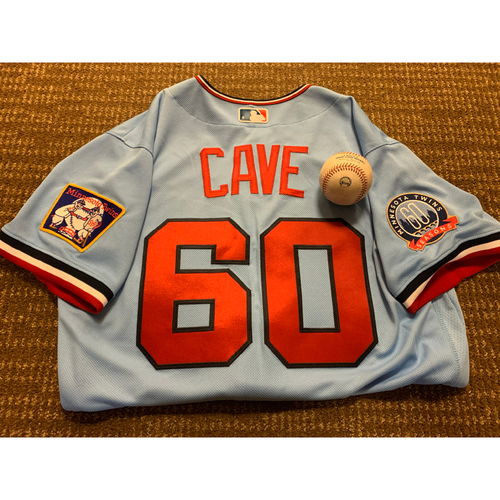 Photo of Jake Cave Jersey and 2-Run Home Run Ball