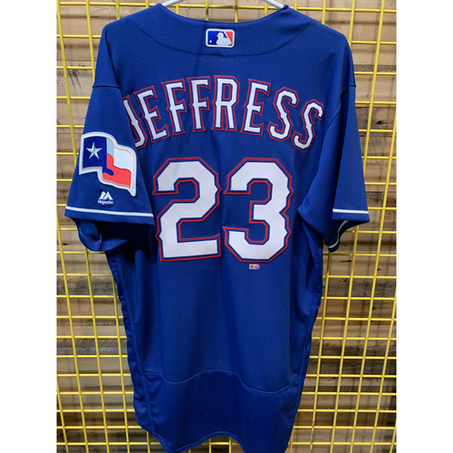 Photo of Jeremy Jeffress Team-Issued Blue Jersey From 2017 Season