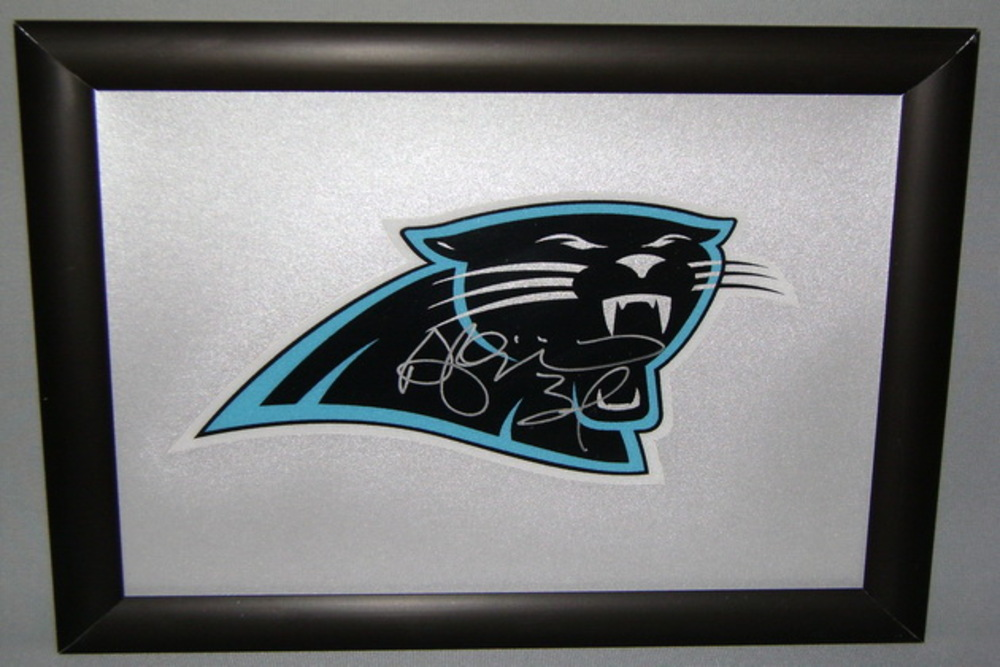 PANTHERS - DEANGELO WILLIAMS SIGNED PANTHERS DECAL WITHIN 8.5 X 11 PICTURE FRAME