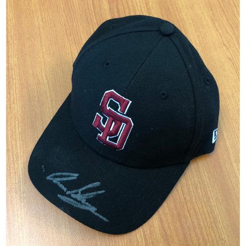 Photo of Aaron Slegers  Autographed, Game-Worn Stoneman Douglas Eagles Cap